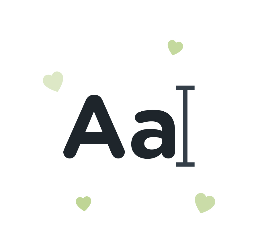 Capital and lowercase 'A' with Hearts and measuring bar