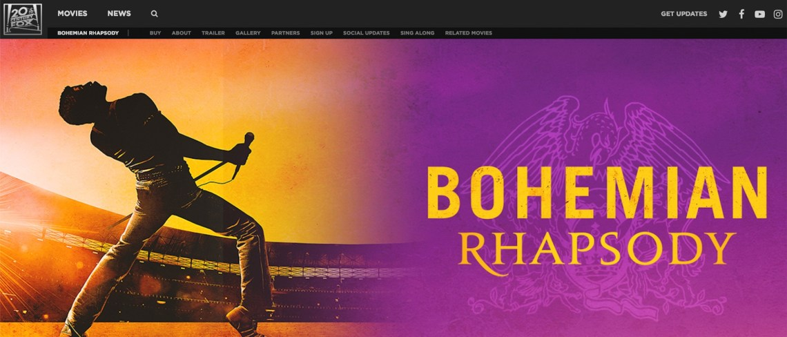 Screenshot of the Bohemian Rhapsody movie website homepage.