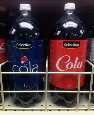 Selection Cola Impersonating Coke and Pepsi