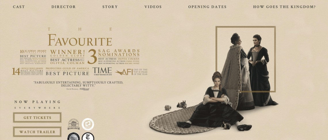 Screenshot of The Favourite movie website homepage.