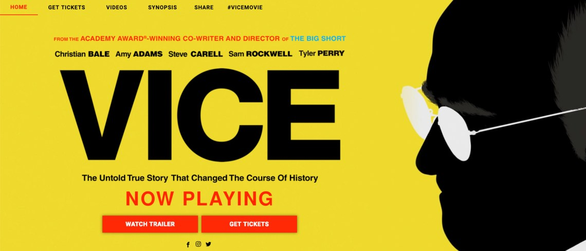 Screenshot of the Vice movie website homepage.