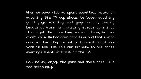 beat cop opening screen