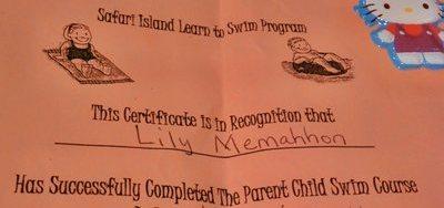 Swim Lessons Certificate