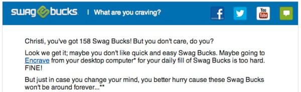 SwagBucks Rude Email