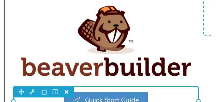 Beaver Builder editor with quick start button selected.