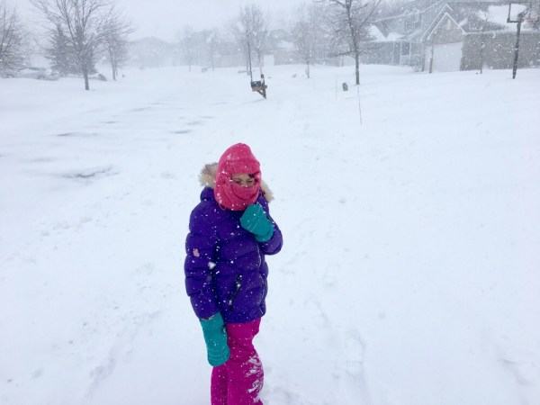 Lily out in a blizzard.