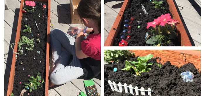 Lily planting her fairy garden.