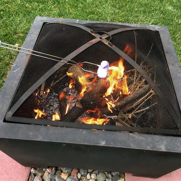 Peeps roasting over a fire pit.
