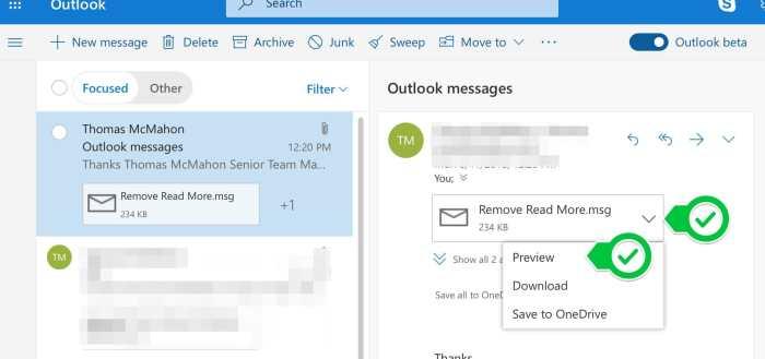 A screen shot of Outlooks Inbox