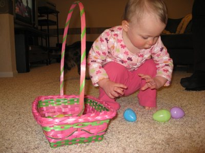 Lily Counting Her Easter Eggs