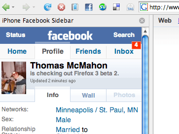 iPhone Facebook Sidebar for Firefox