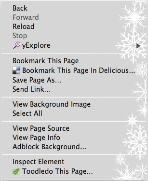 Right click menu with snow.