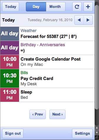 See Today S Schedule In A Small Google Calendar Desktop Application