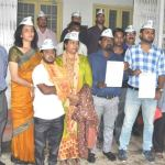 Aap workers at District Collector office