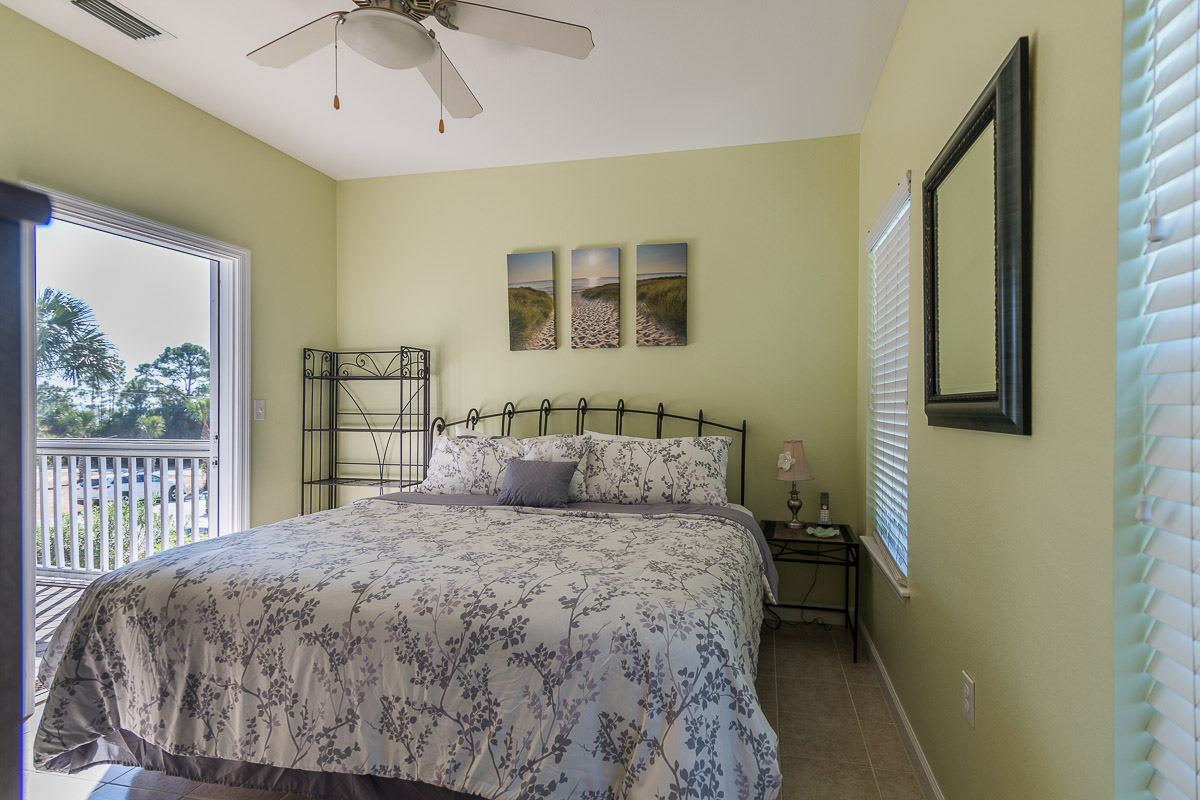 Main Floor off Kitchen King Bedroom-Screened Porch Attached-Full TV