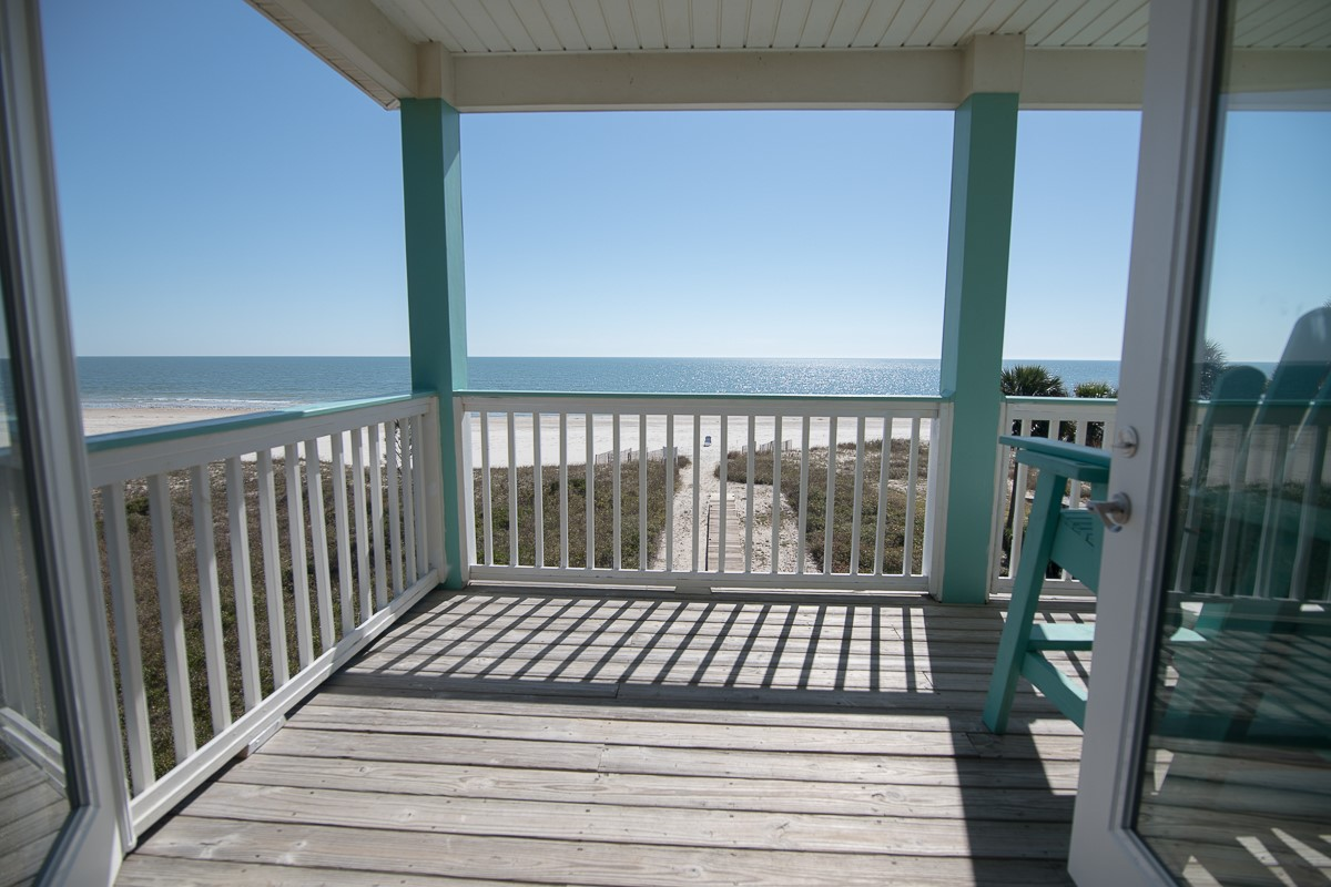 Deck off MBR, View of Boardwalk and Beach
