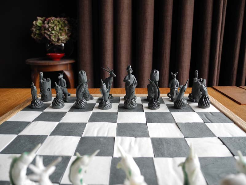 Chess set with animals from around the world