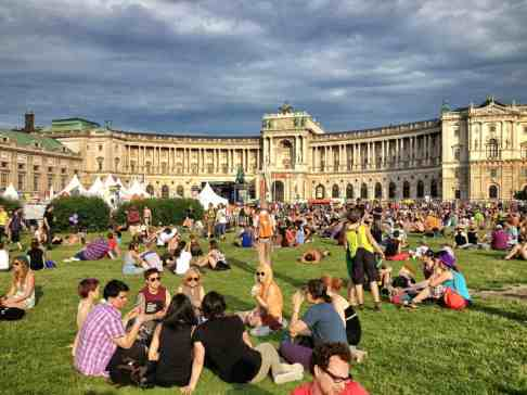 Pride Village as it fills up at Heldenplatz