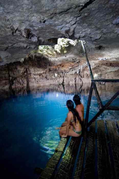Cenotes near Puerto Morelos: underground caverns large large subterranean lakes
