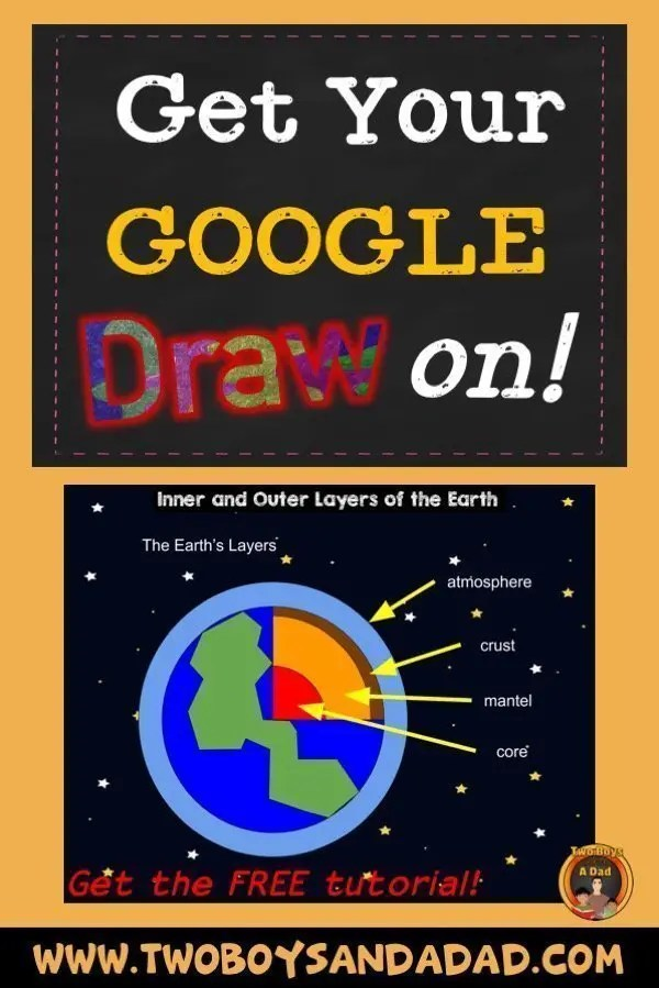 Follow this tutorial on how to use Google Draw in the classroom to draw the layers of the Earth. It's a fun activity! Click to see the tutorial. #twoboysandadad #google #googledraw #classroom #technology #chromebooks