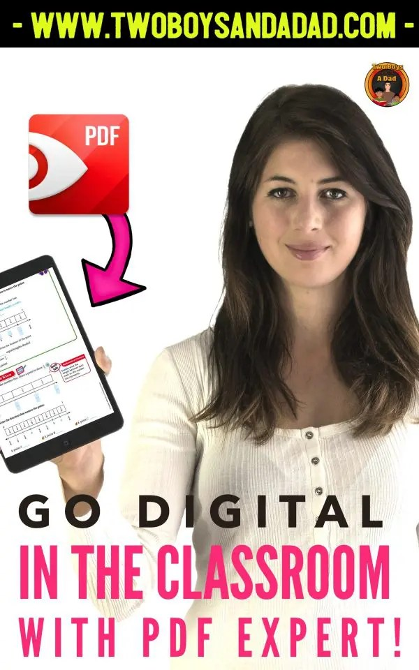 If you have lots of digital resources for you classroom but are wondering how you can use them to teach, then the PDF Expert is for you! With this App, you can annotate on any PDF or JPG resource while projecting it to your class. #digitalresources #twoboysandadad #technology #pdf #teacher #classroom