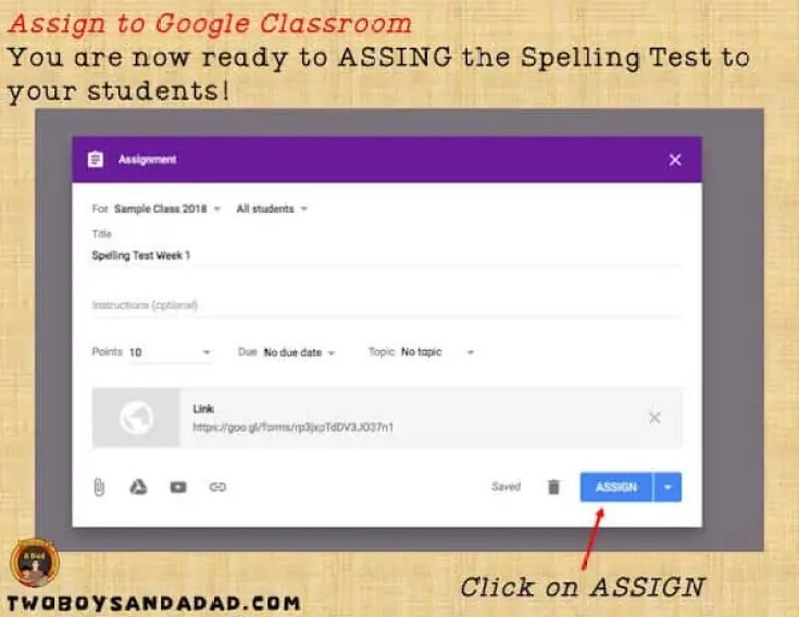 Click assign in Google Classroom