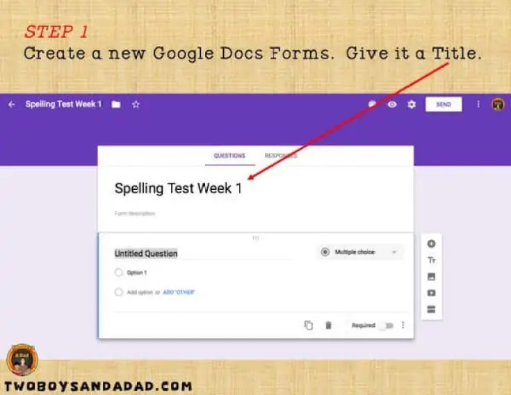 Give your Google Forms a title
