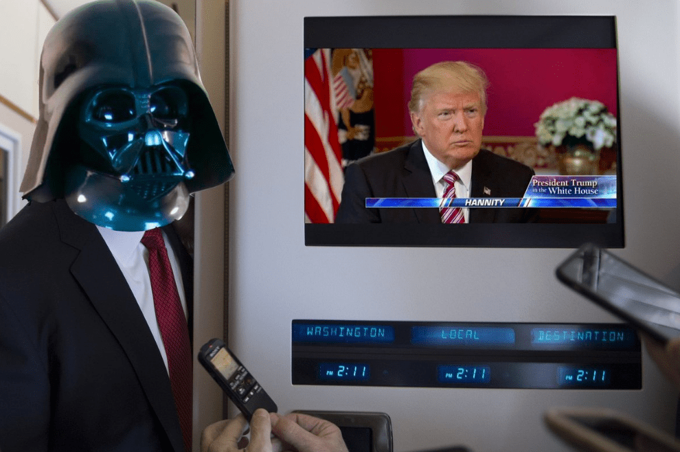 Trump Held A Conference Next To A TV Playing Star Wars And Twitter Had A Field Day