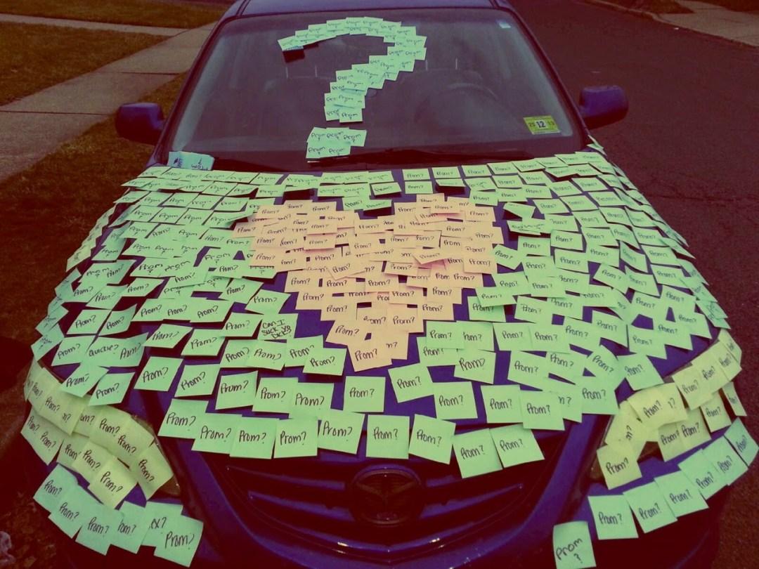 promposal sticky note car