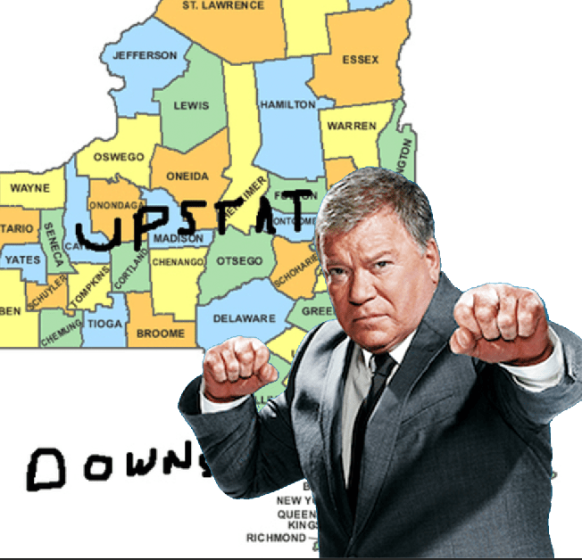 """William Shatner Got Roped into the """"Where Is Upstate New York?"""" Debate That Two Buttons Deep Has Already Solved"""