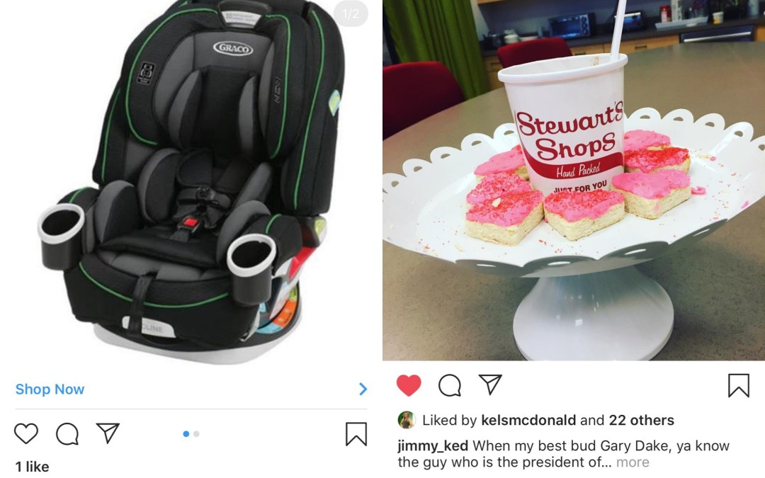 Some Squad Members Get Stewart's Ice Cream Hand Delivered to Them on Valentine's Day, and I Get a Targeted Ad For Baby Car Seats