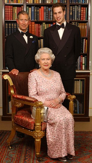 Three generations of the British Royal family - Queen Elizabeth II, her oldest son, the Prince of Wales, and his oldest son, Prince William - pose for a photograph Monday June 2, 2003, at Clarence House in London, before a dinner to mark the 50th anniversary of her Coronation. The Prince of Wales was hosting the meal at his new residence, formerly the London home of the 101-year-old Queen Mother, after a day of celebration which included a service at Westminster Abbey and a children's tea party in the gardens of Buckingham Palace. See PA story ROYAL Coronation Nightlead, PA Photo: Kirsty Wigglesworth / WPA solo rota.