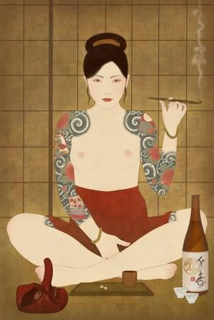 hanafuda, irezumi, yakuza, bakuto, red peony gambler, nihon bakuto, shunga, japanesetattoo, kiseru pipe,sake, tengu mask, tengu, senju shunga 9