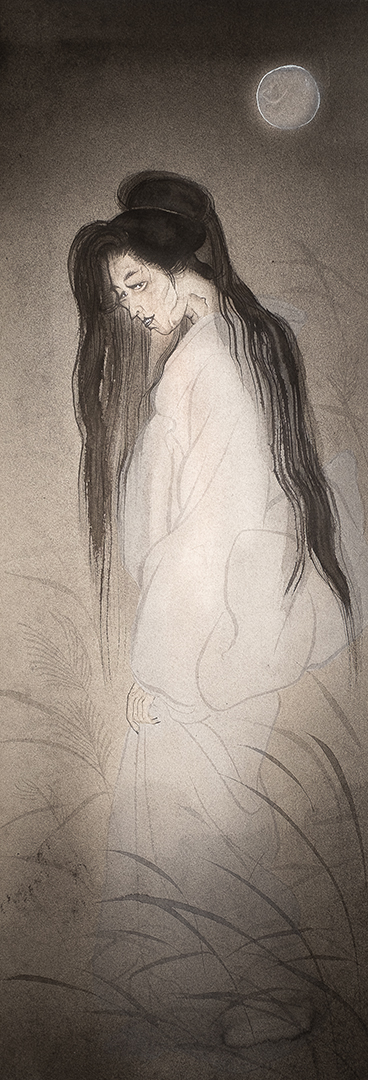 A painting of a female japanese ghost in the light of the moon
