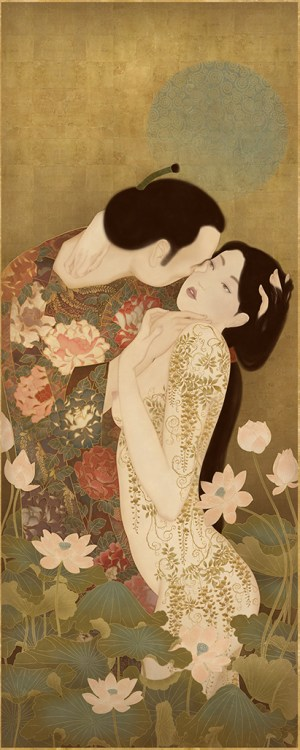 "To show a sensual and erotic painting by Senju paying homage to Gustav Klimt and his immortal painting ""The Kiss"""