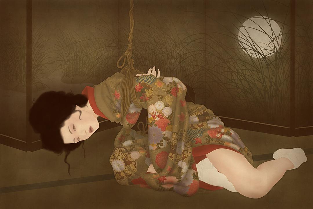 to show the beauty of a erotic and sensual kinbaku shibari shunga painting by Senju.