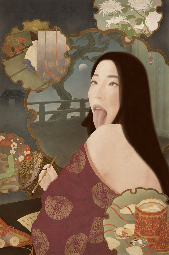 to show a sensual and erotic painting of Japanese ahegao artist Mayu Manson as Sei Shonagon.