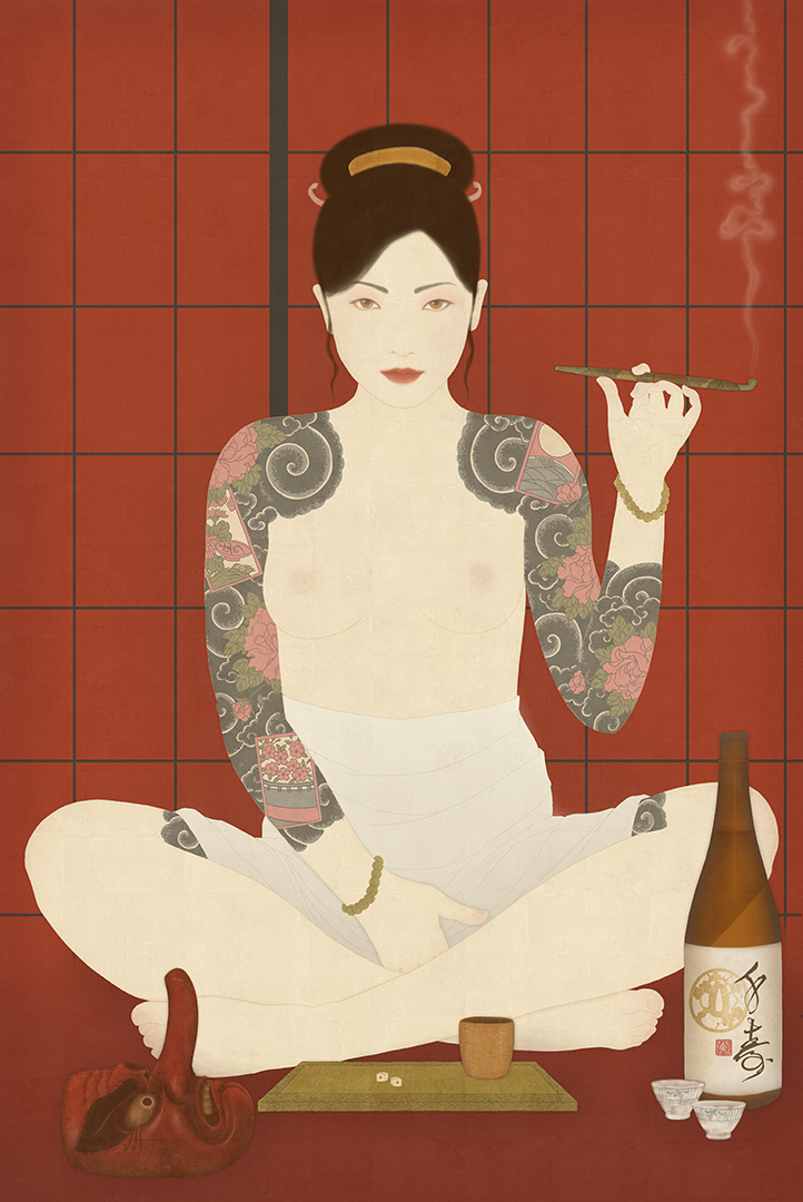 to show a sensual and erotic female nude painting of Oryu, the red peony gambler. Created by Senju in biding and Shunga style.