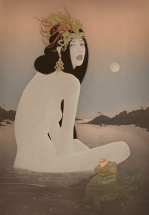 To show a sensual female nude portrait of Toyotama Hime. Painted by Senju