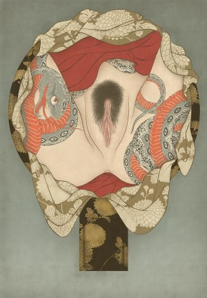to show a sensual and erotic shunga painting by Swedish artist Senju.