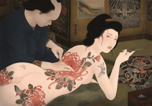 to showcase a sensual and erotic painting by Senju. It is depicting a young, nude Japanese female being tattooed in the traditional irezumi style.