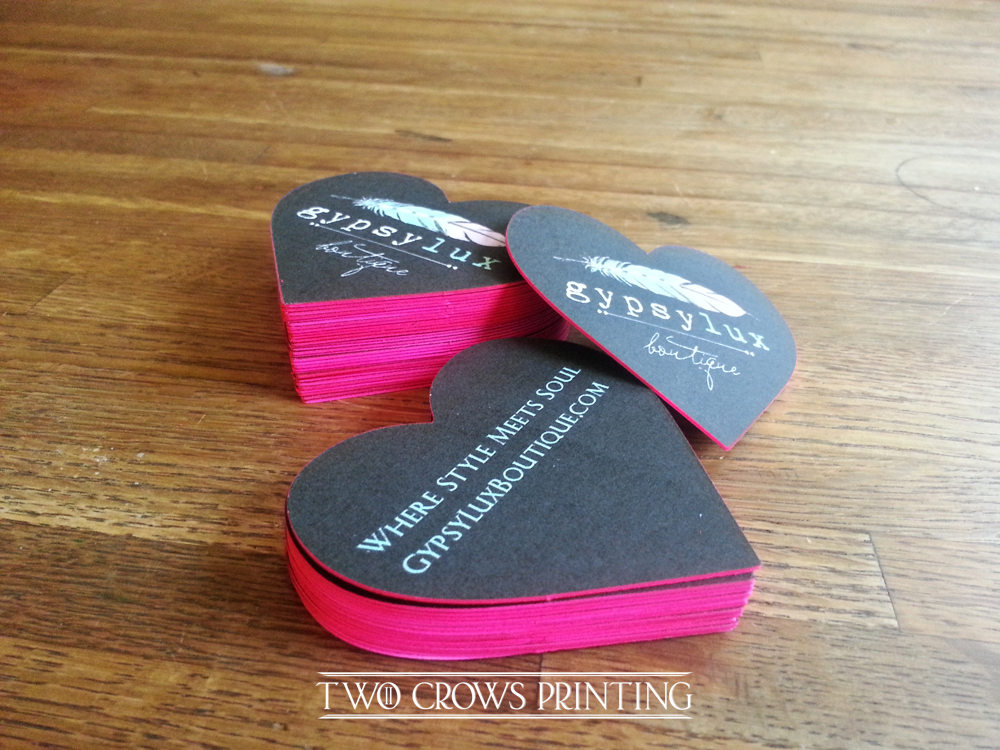 Edge painted heart shaped die cut business cards two crows printed on 200lb card stock cut into hearts and edge painted hot pink these calling cardsbusiness cards really pop we can custom die cut business cards reheart Image collections