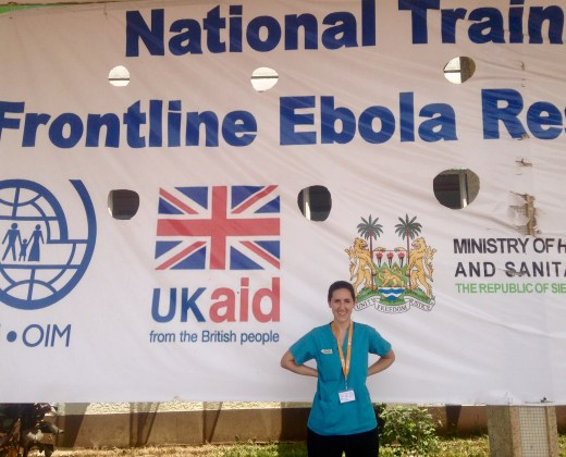 Emily at Ebola clinician training in Sierra Leone