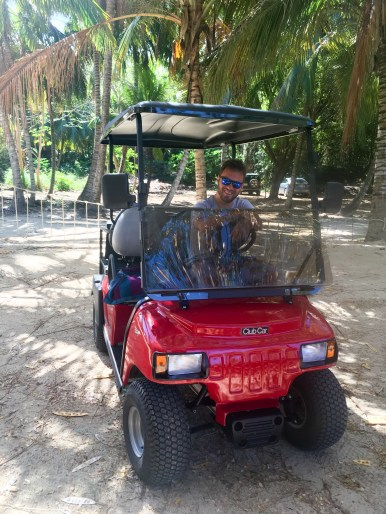 Driving a golf cart on the island of Culebra east of Puerto Rico.