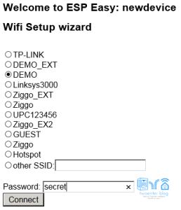 WiFi setup wizard ESPeasy