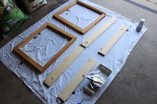 Painting old window doors