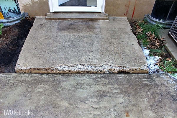 How to fix chipped concrete steps twofeetfirst for Cleaning concrete steps