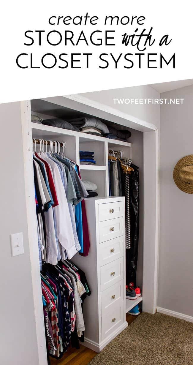 Do you need more closet storage? Create more storage with a DIY closet system.