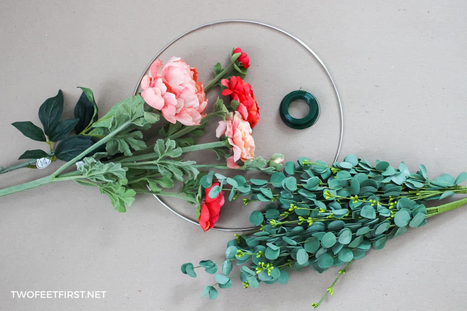 supplies to make a hoop wreath