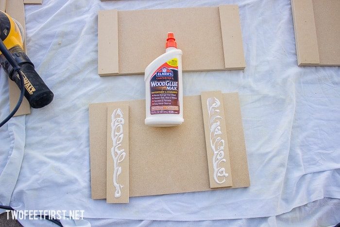 apply wood glue to trim